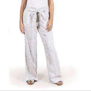 Rewash Paperbag Wide Leg Printed Pants